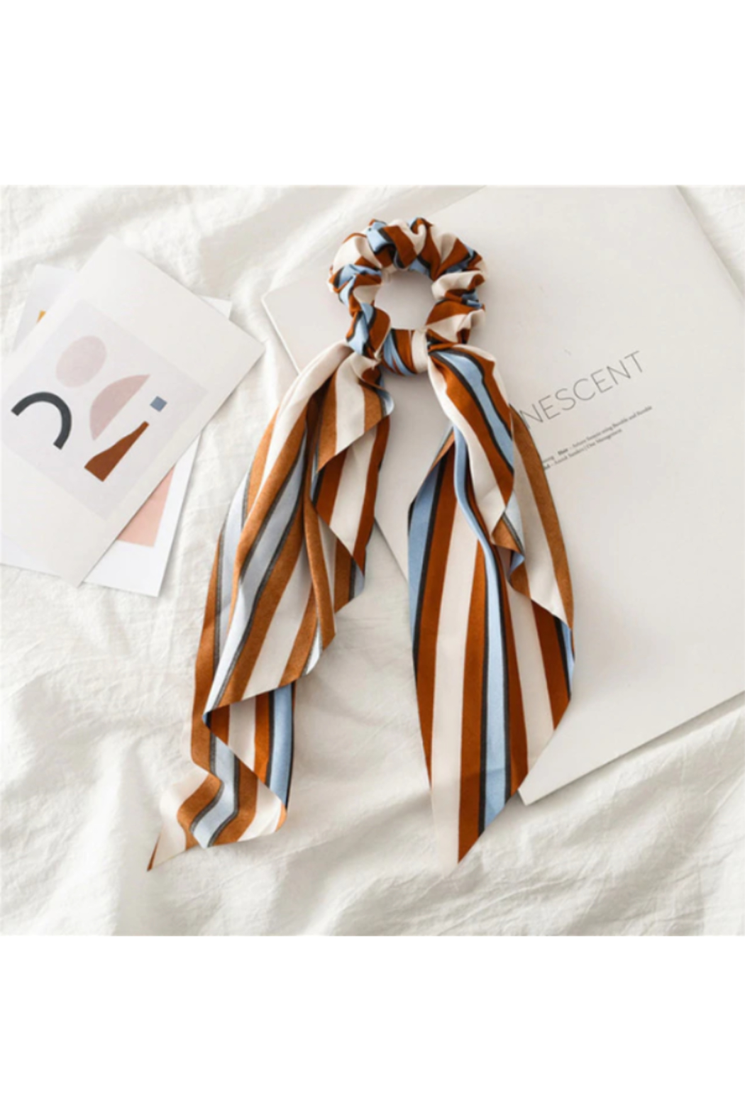 The Birds Nest STRIPED SCRUNCHIE SCARF - Front Cropped Image