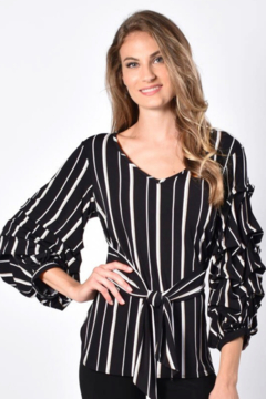 Frank Lyman Striped Self-Belted Blouse Top - Product List Image