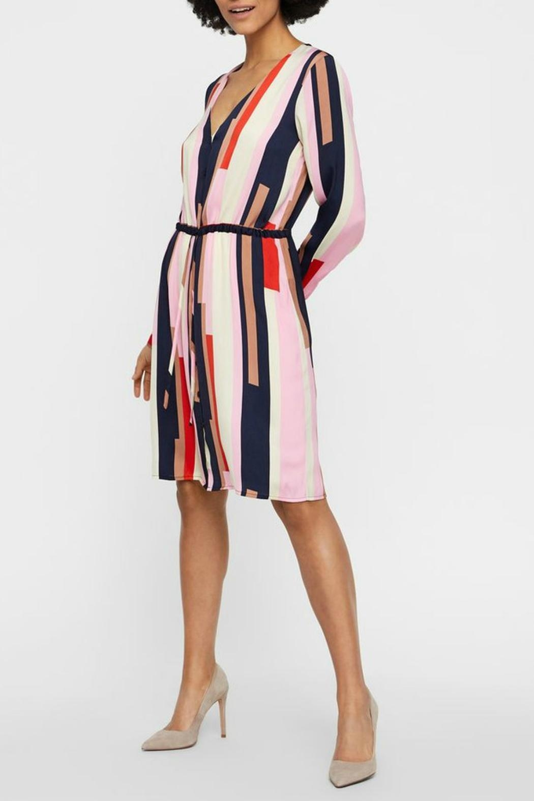 Vero Moda Striped Shirt Dress - Front Cropped Image