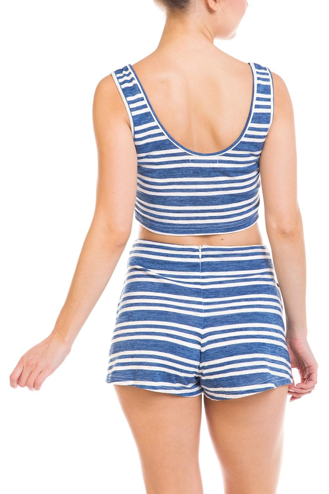 Wild Honey Striped Short Set - Back Cropped Image