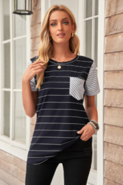 The Emerald Fox Boutique Striped Short Sleeve Contrast Color T-Shirt with Pocket - Product Mini Image