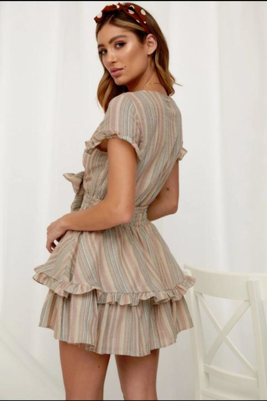 Chikas Striped Short-Sleeve Dress - Front Full Image