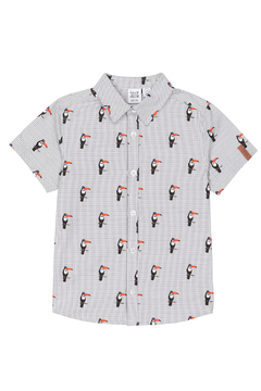 Deux Par Deux Striped Short Sleeve Toucans Print Shirt - Product List Image