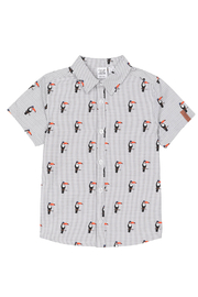 Deux Par Deux Striped Short Sleeve Toucans Print Shirt - Product Mini Image