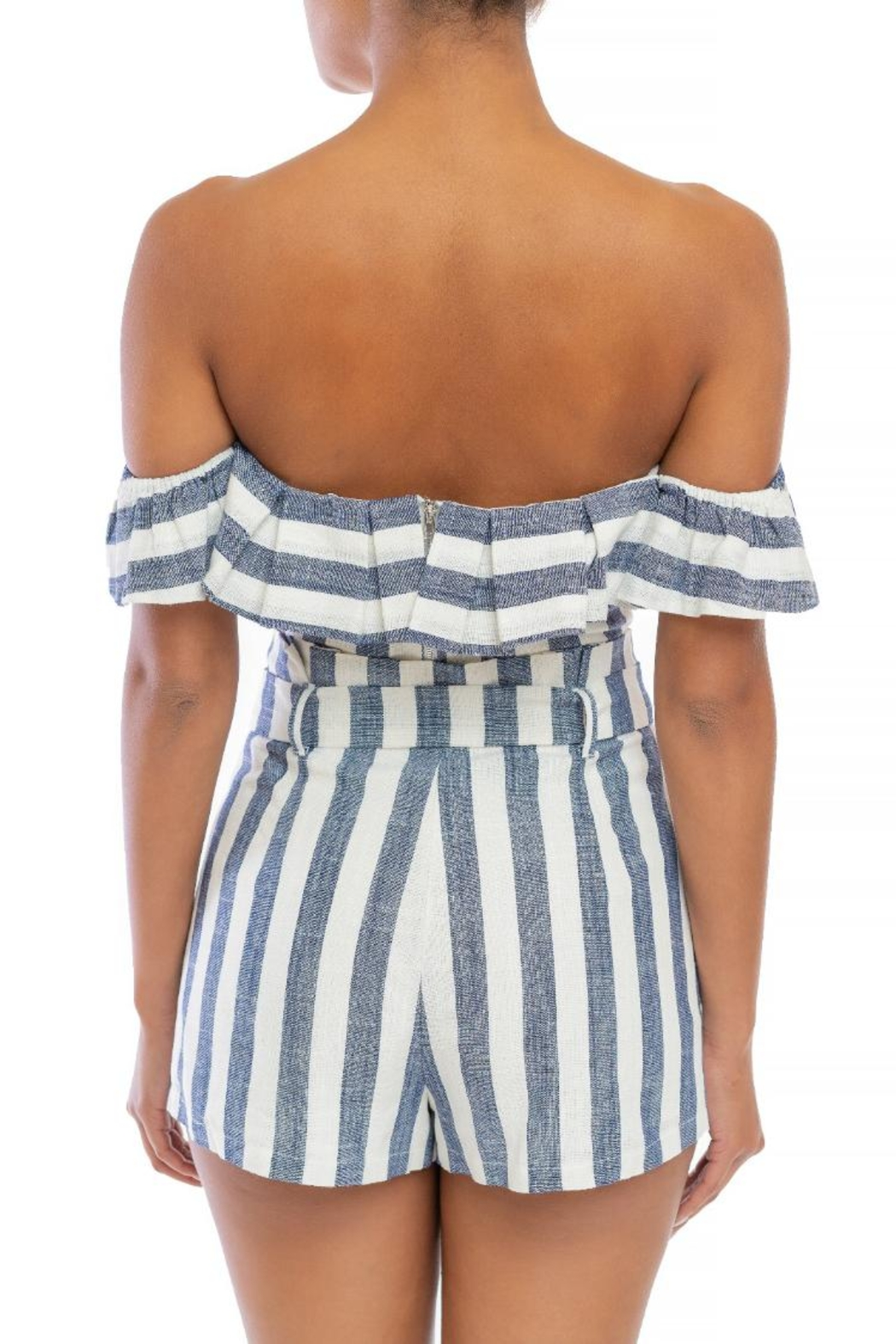 luxxel Striped Shorts Set - Front Full Image
