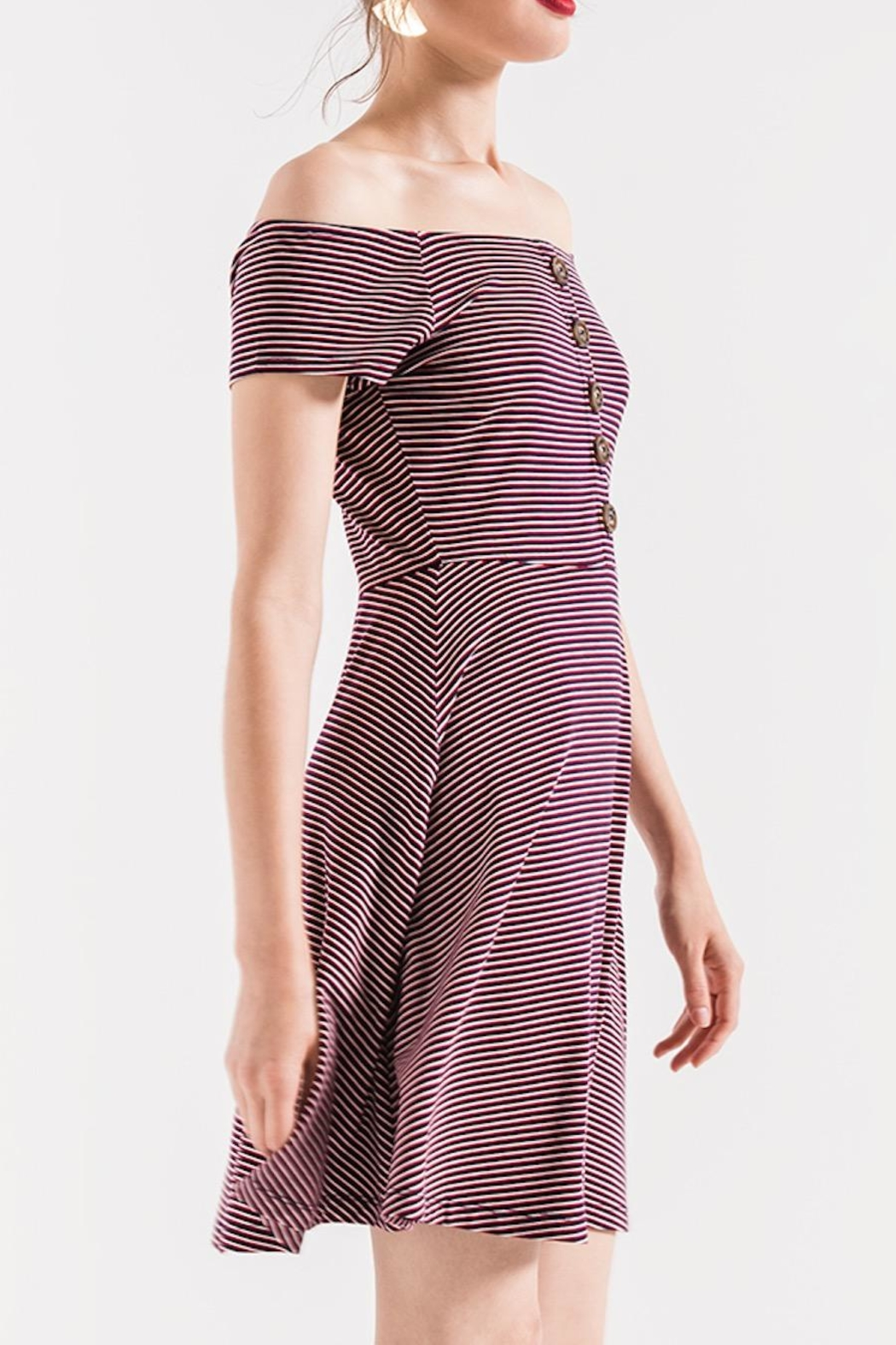 Others Follow  Striped Skater Dress - Side Cropped Image