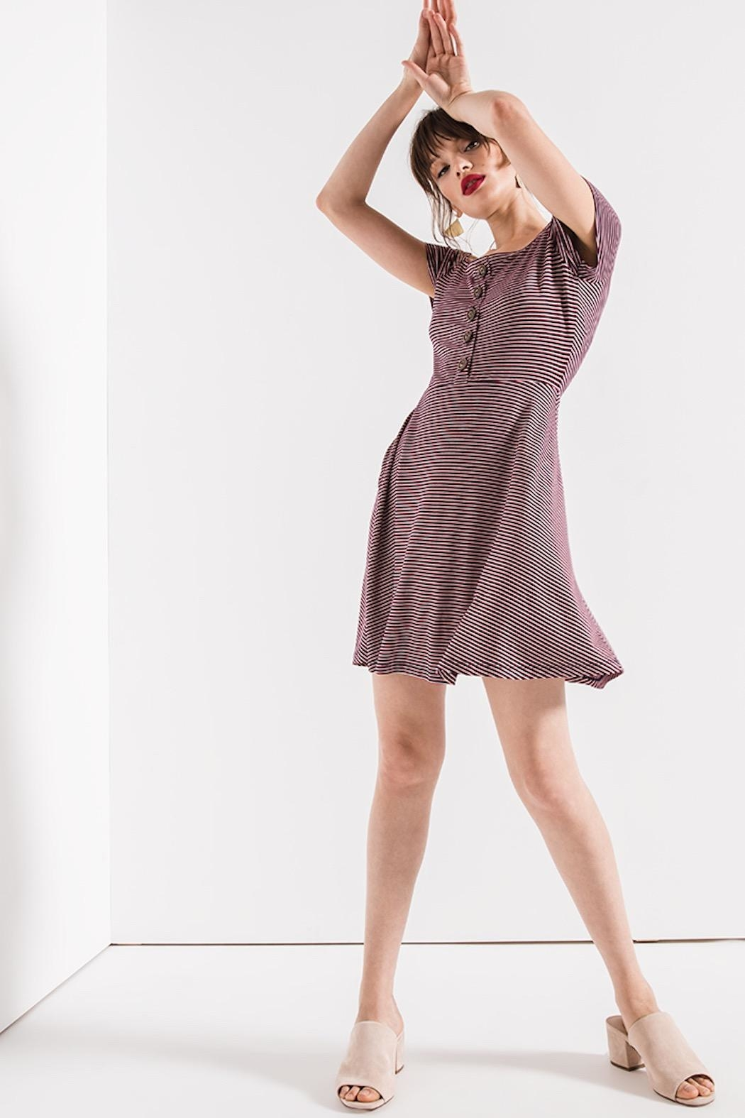 Others Follow  Striped Skater Dress - Back Cropped Image