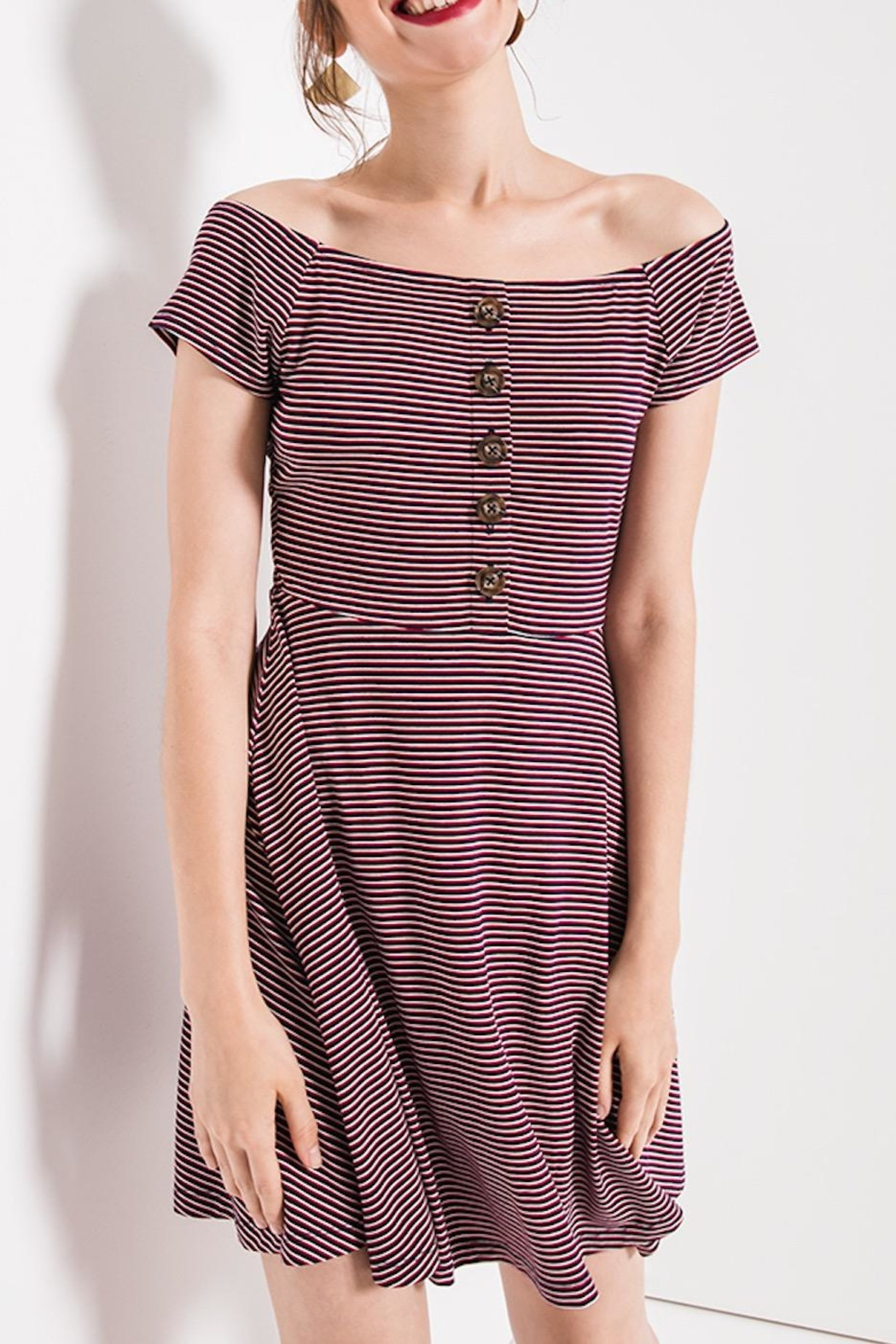 Others Follow  Striped Skater Dress - Main Image