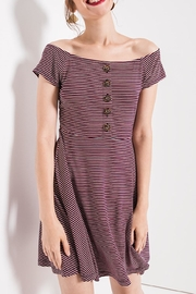 Others Follow  Striped Skater Dress - Front cropped