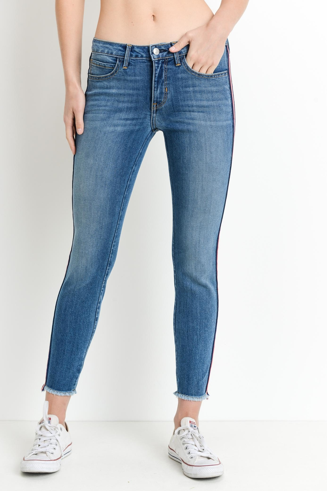 just black Striped Skinny Jeans - Front Full Image