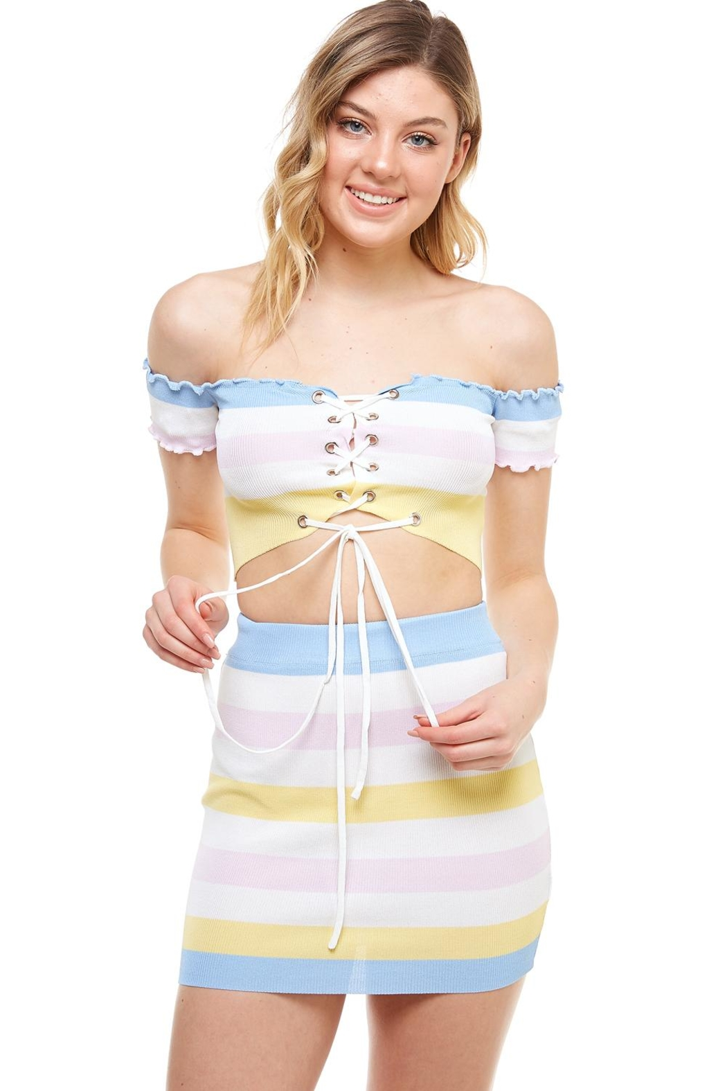 Hot & Delicious Striped Skirt Set - Side Cropped Image