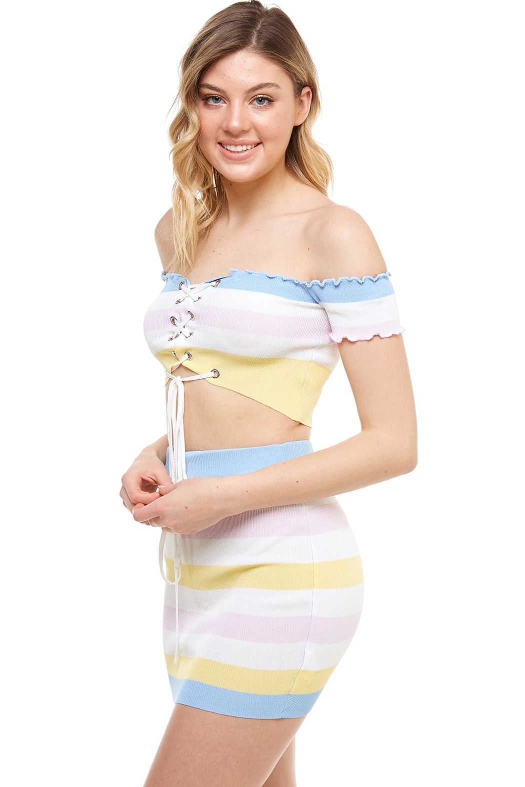 Hot & Delicious Striped Skirt Set - Front Full Image