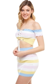Hot & Delicious Striped Skirt Set - Front full body