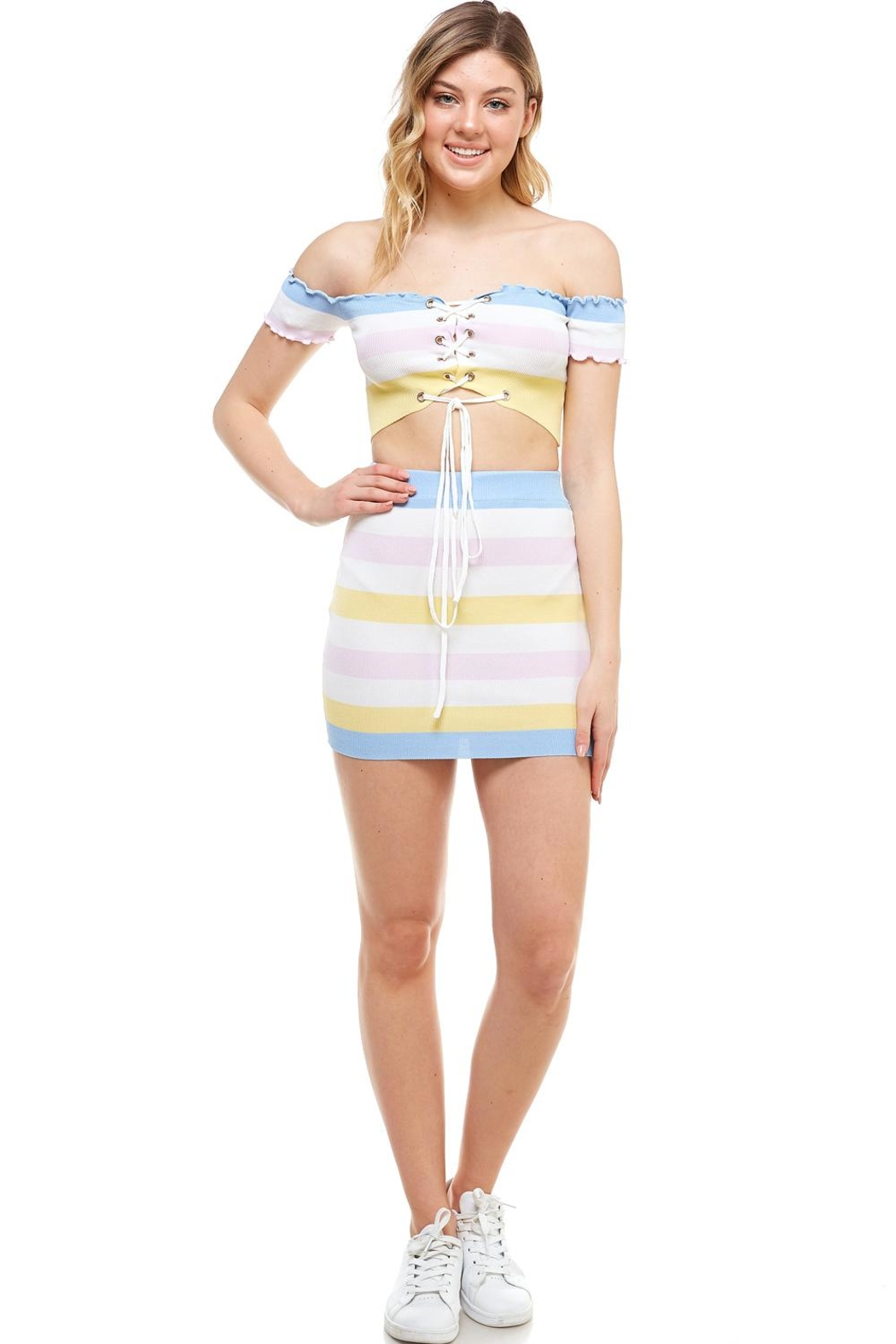 Hot & Delicious Striped Skirt Set - Main Image