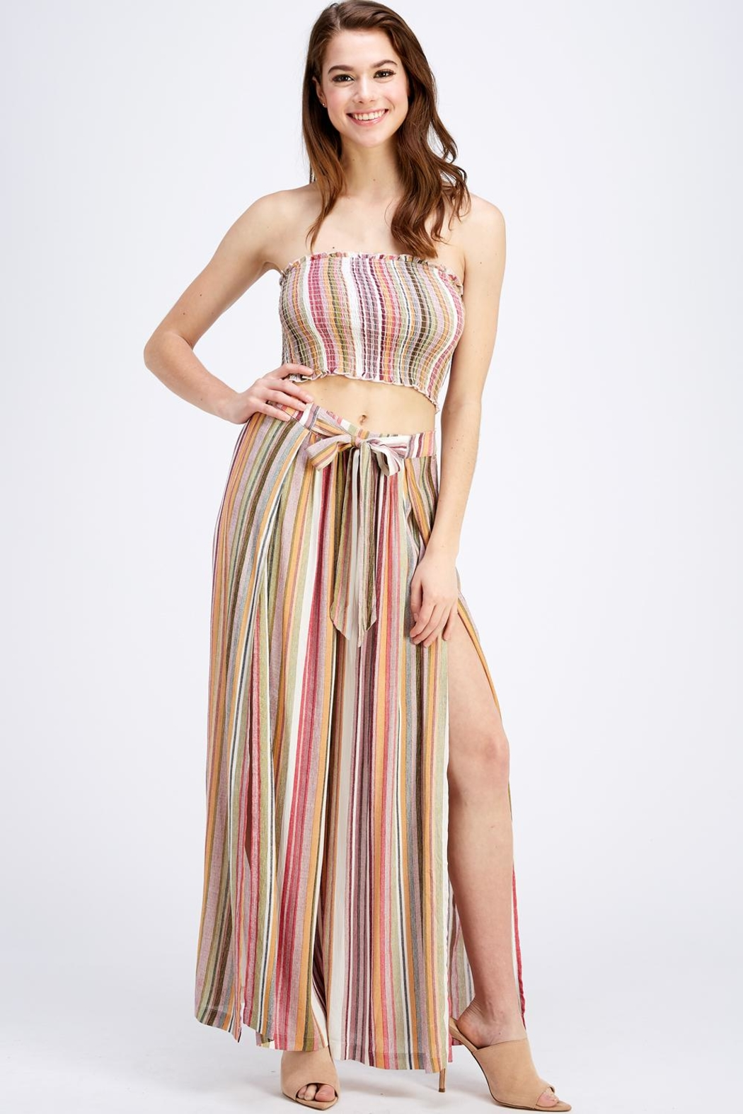 Cotton Candy LA Striped Skirt Set - Front Full Image