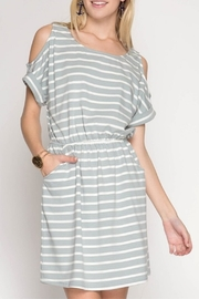 She + Sky Striped Slate Dress - Product Mini Image