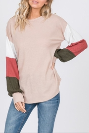 7th Ray Striped Sleeve Top - Product Mini Image