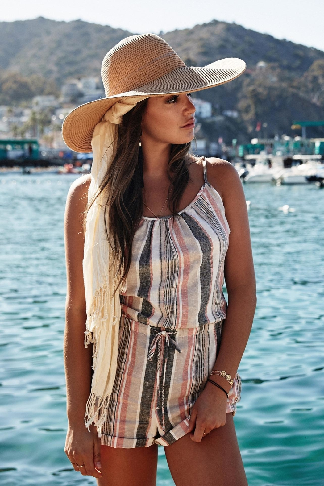 Fifteen Twenty Striped Sleeveless Romper - Front Cropped Image