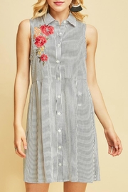 Entro Striped Sleeveless Shirt-Dress - Front cropped