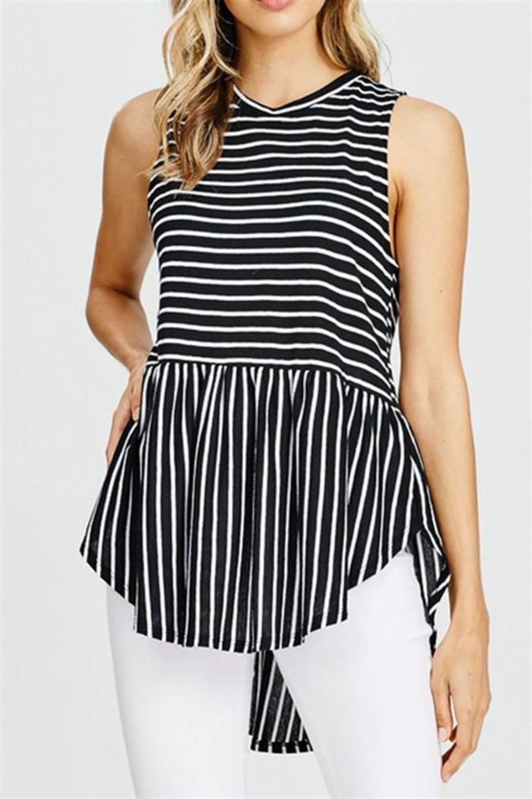 Cherish Striped Sleeveless Top - Front Cropped Image