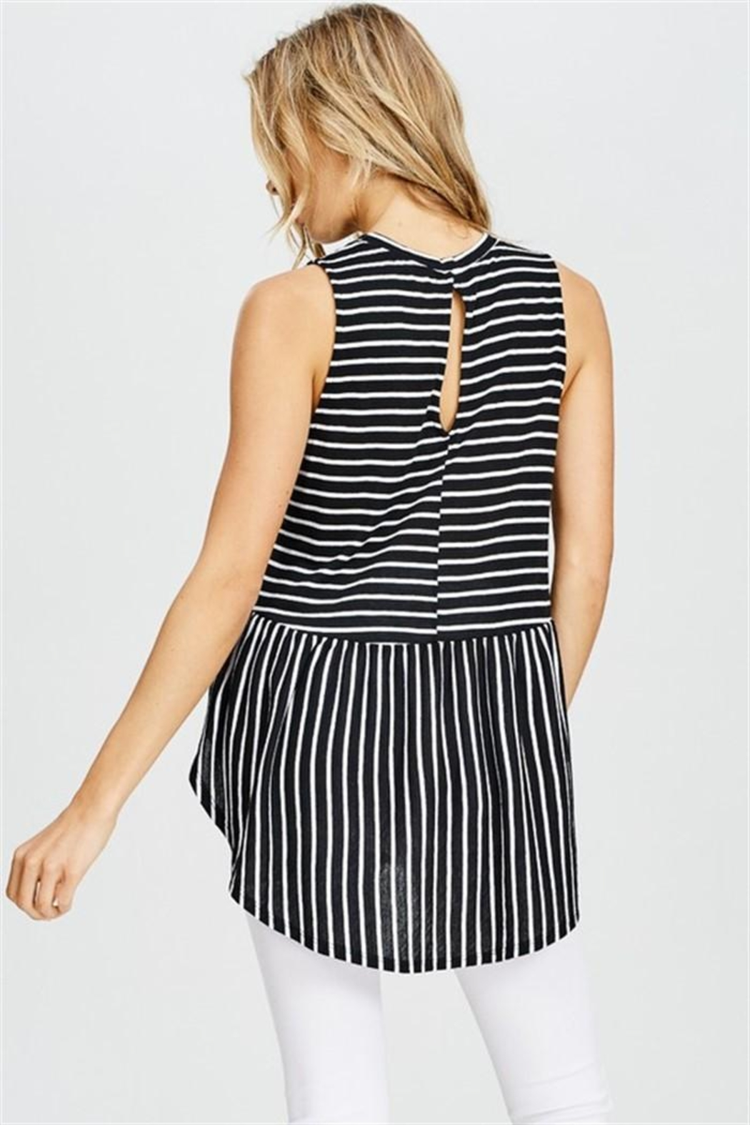Cherish Striped Sleeveless Top - Front Full Image