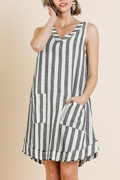 Umgee  Striped Sleeveless V-Neck Shift Dress with Front Pockets and Frayed Scoop Hem - Product List Image