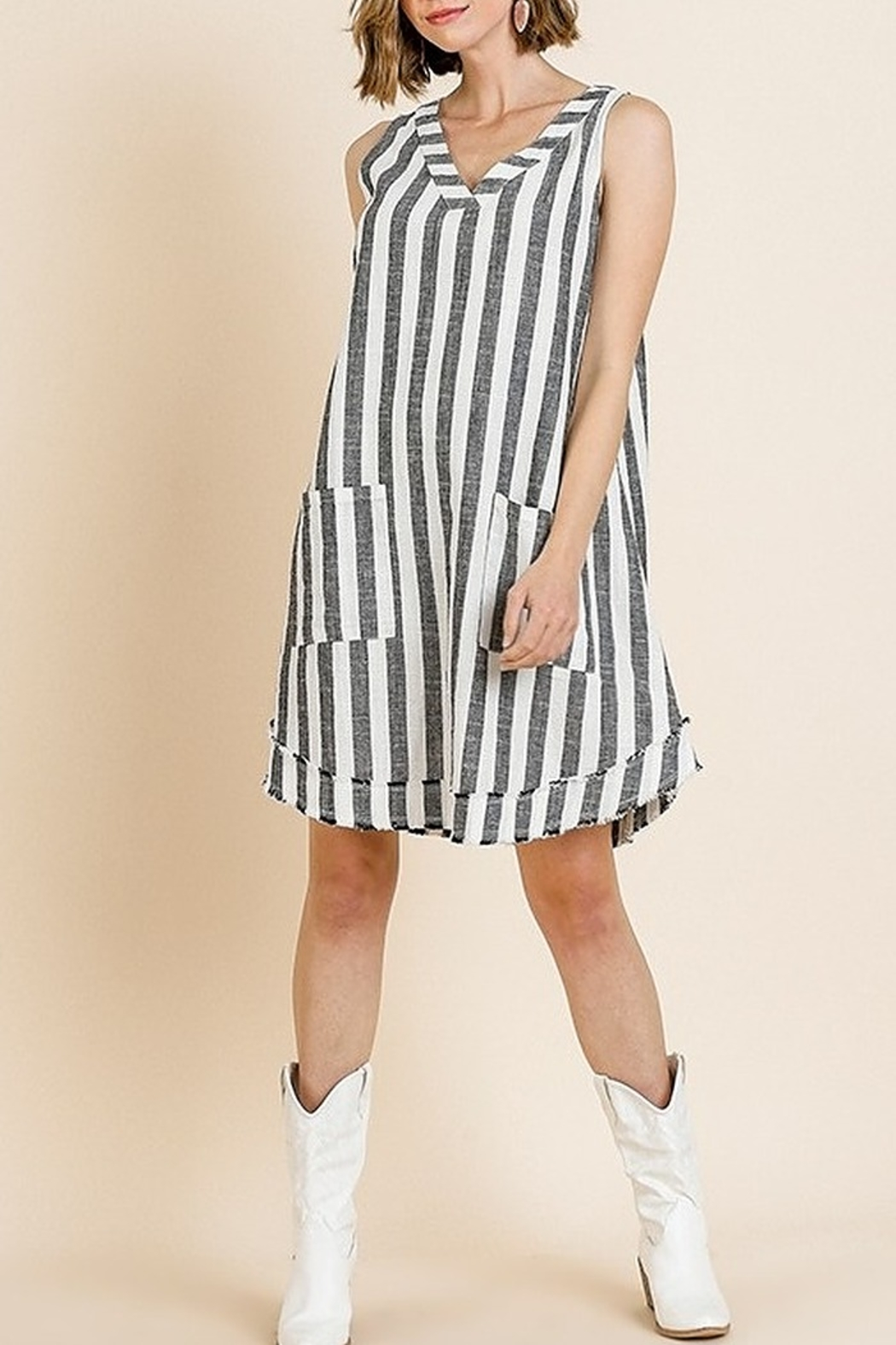 Umgee  Striped Sleeveless V-Neck Shift Dress with Front Pockets and Frayed Scoop Hem - Front Full Image