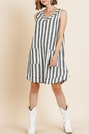 Umgee  Striped Sleeveless V-Neck Shift Dress with Front Pockets and Frayed Scoop Hem - Front full body