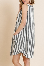 Umgee  Striped Sleeveless V-Neck Shift Dress with Front Pockets and Frayed Scoop Hem - Side cropped