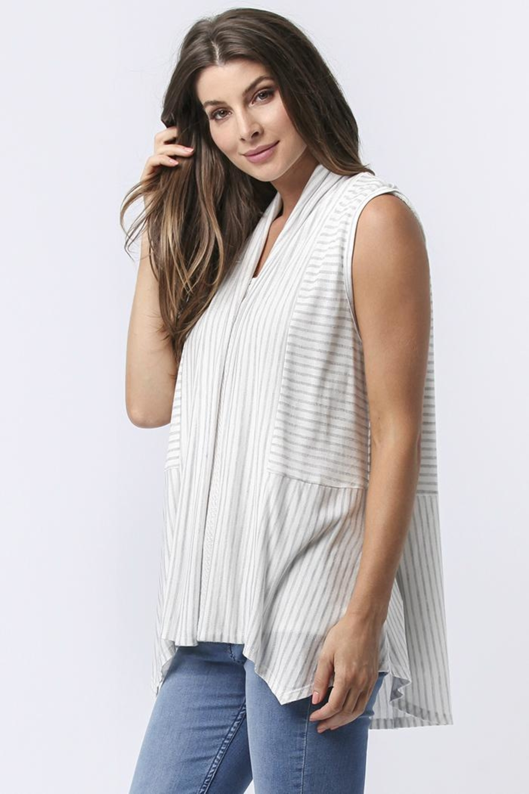 Sinuous Striped Sleeveless Vest - Side Cropped Image