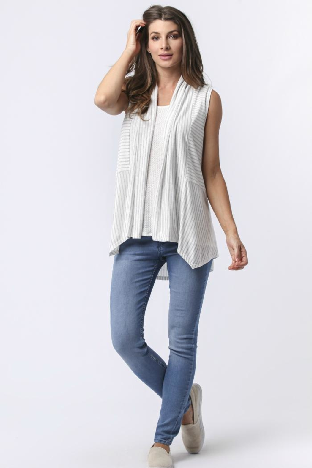 Sinuous Striped Sleeveless Vest - Main Image