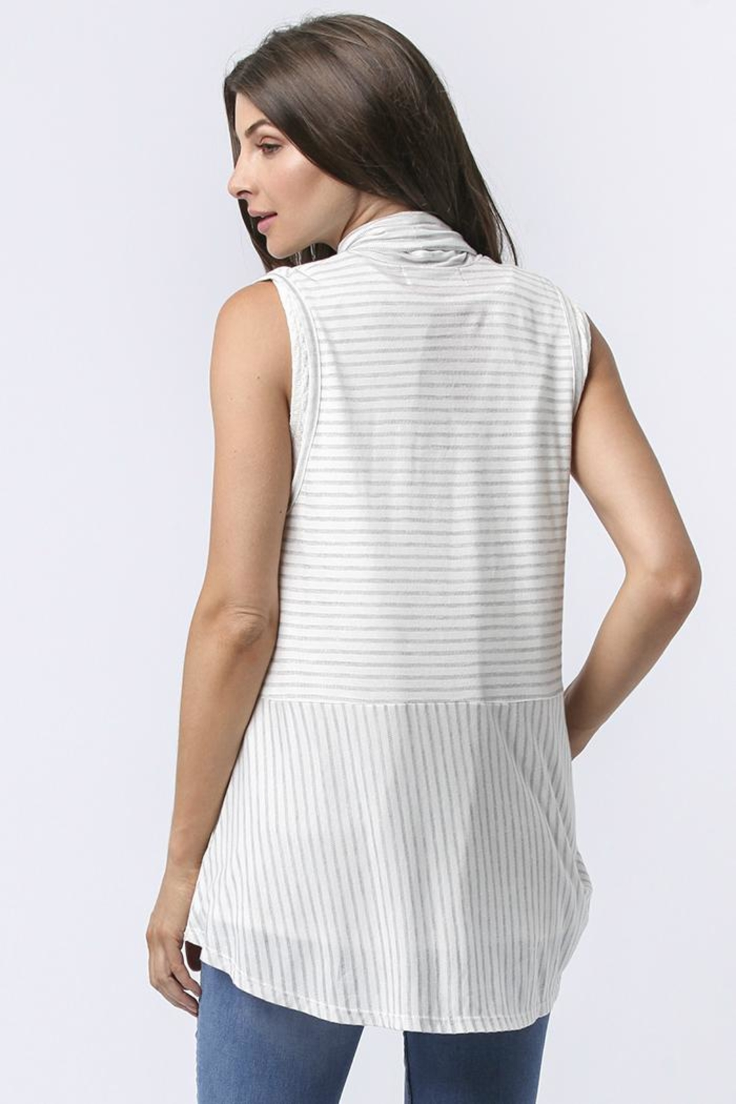 Sinuous Striped Sleeveless Vest - Back Cropped Image
