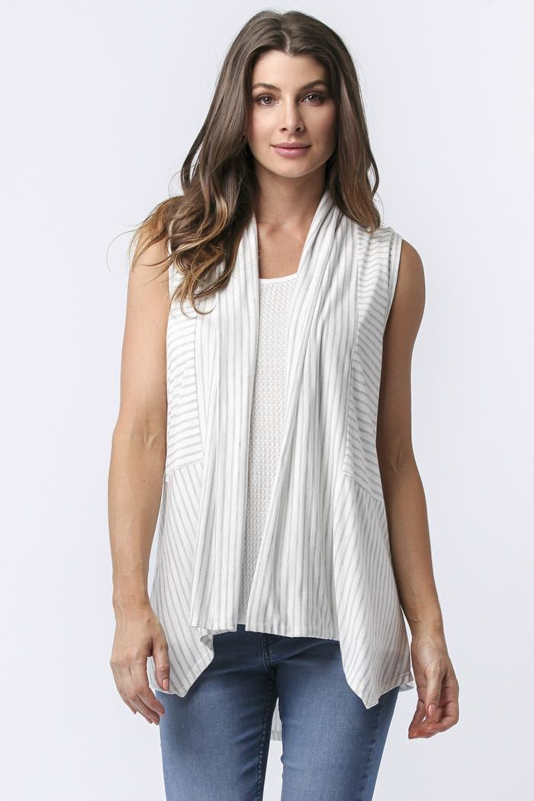 Sinuous Striped Sleeveless Vest - Front Full Image