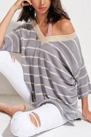 LA MIEL  Striped Slouchy Sweater - Product Mini Image