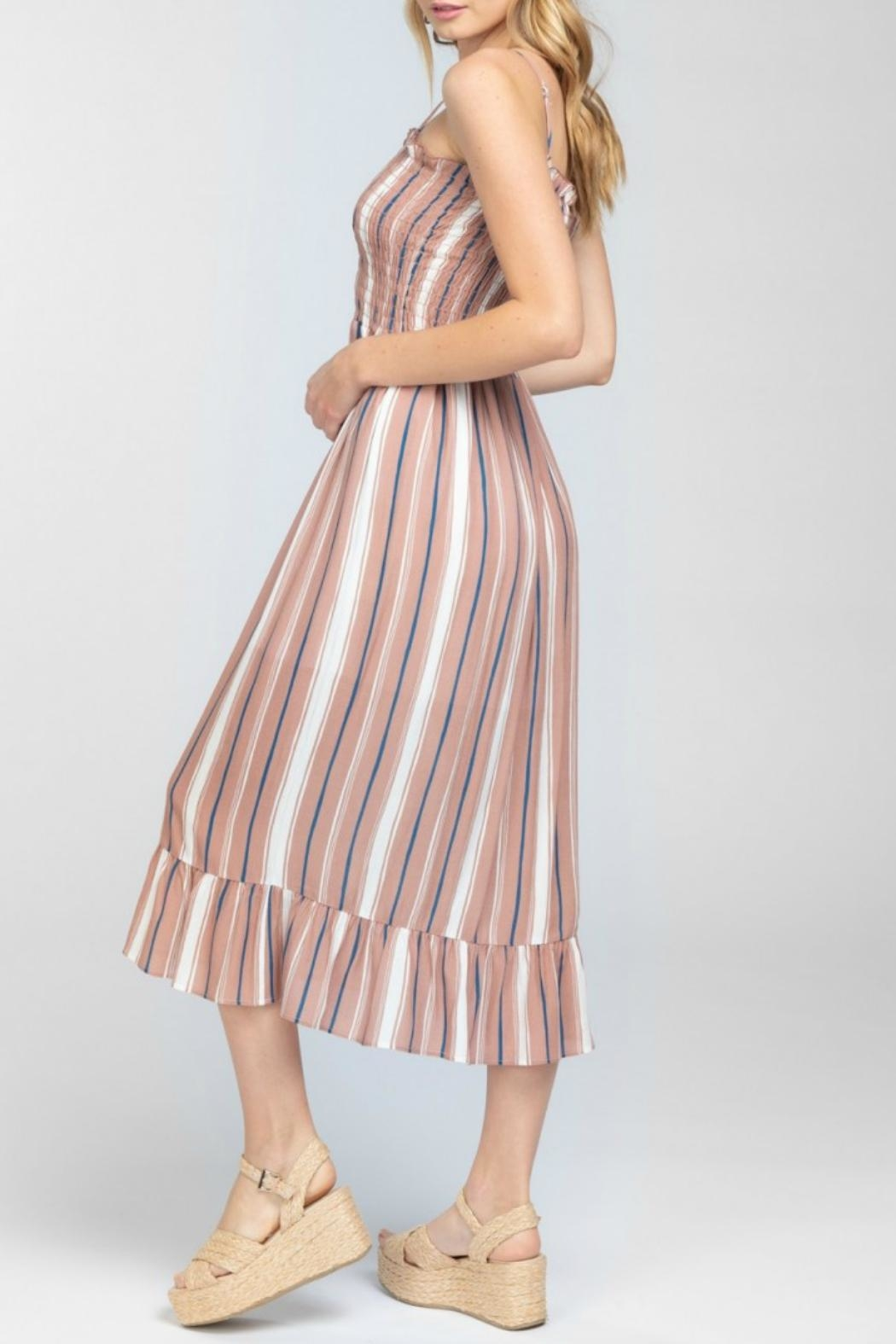 ALB Anchorage Striped Smocked Midi-Dress - Side Cropped Image