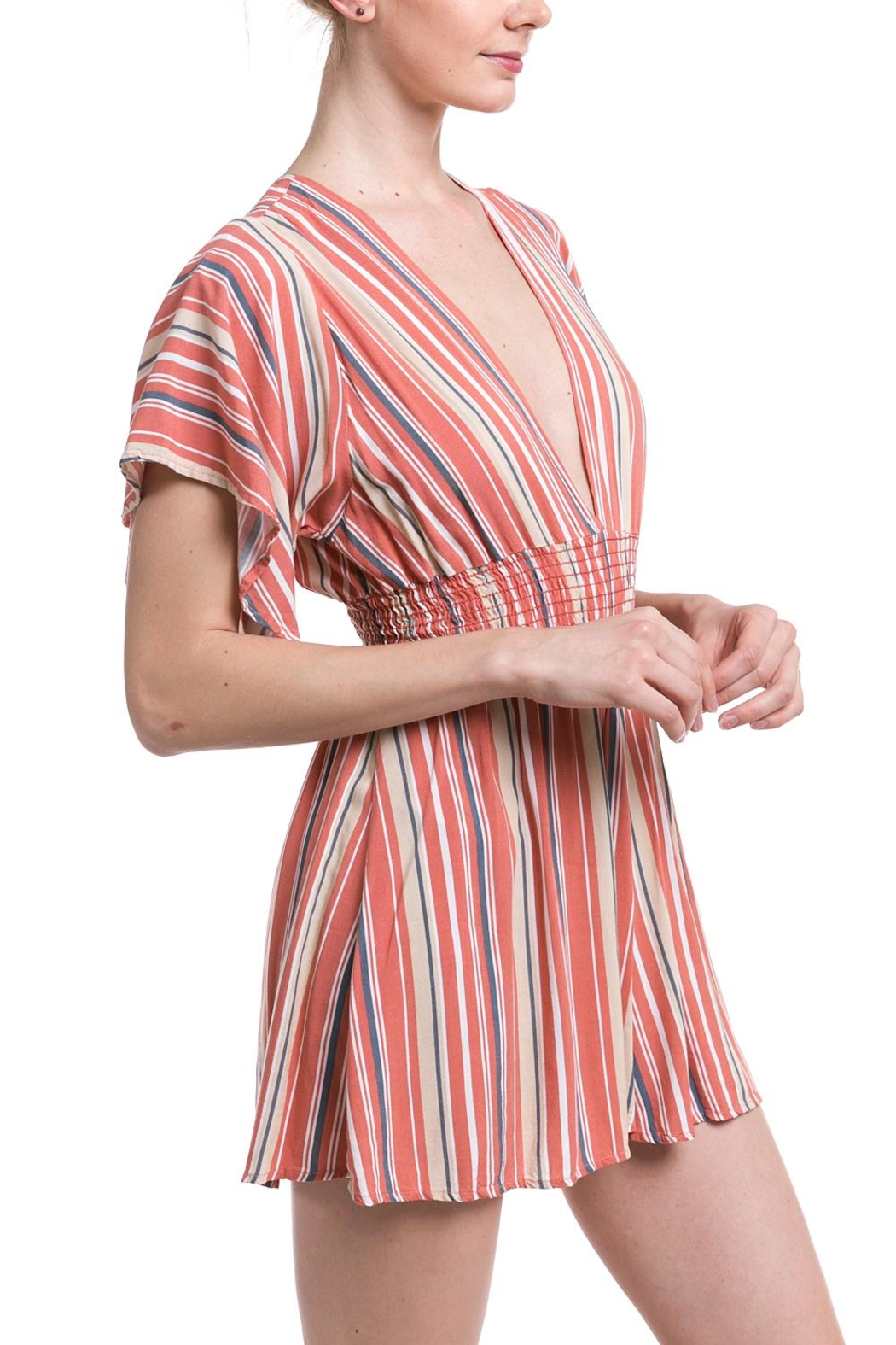 Final Touch Striped Smocked Romper - Front Full Image
