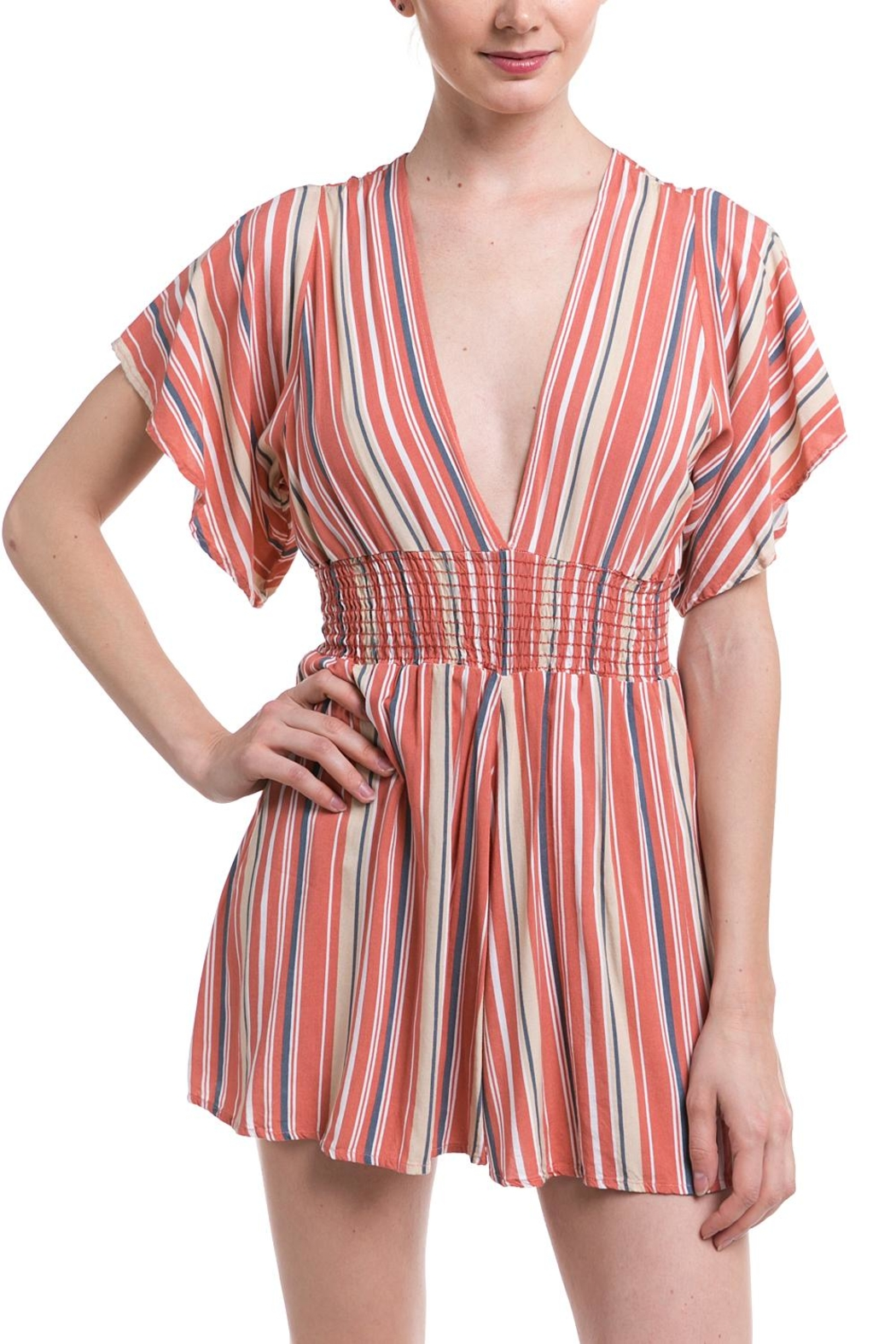 Final Touch Striped Smocked Romper - Main Image