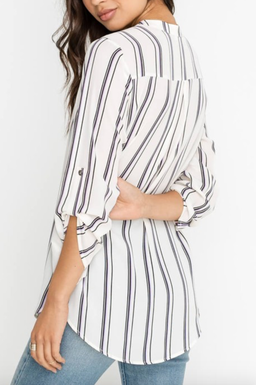 Lush Clothing  Striped Stacey V-Neck Tunic Top - Front Full Image