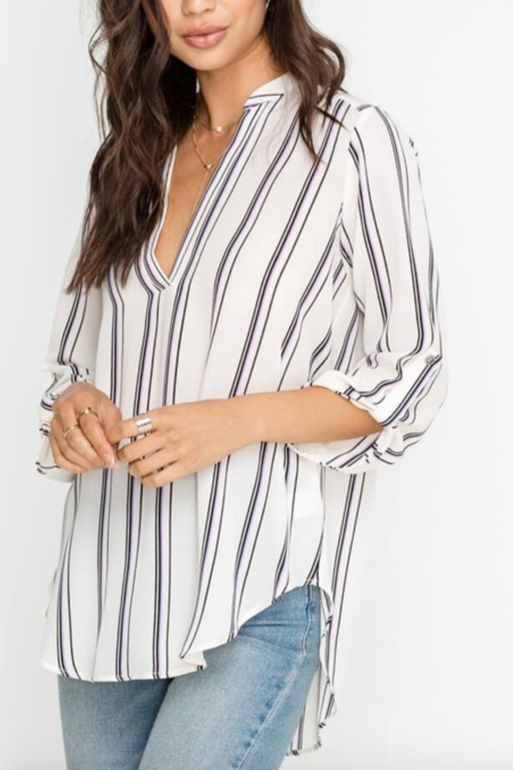 Lush Clothing  Striped Stacey V-Neck Tunic Top - Front Cropped Image