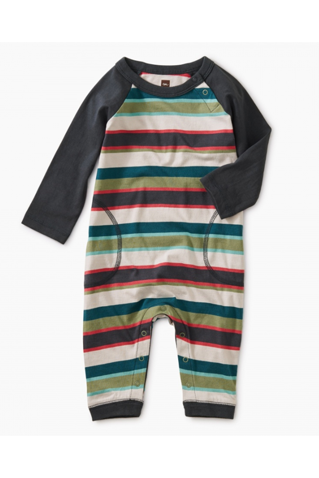 Tea Collection Striped Stitched Pocket Raglan Romper - Main Image