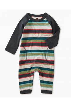 Shoptiques Product: Striped Stitched Pocket Raglan Romper