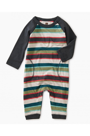 Tea Collection Striped Stitched Pocket Raglan Romper - Front cropped