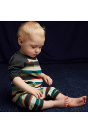 Tea Collection Striped Stitched Pocket Raglan Romper - Front full body