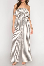 She + Sky Striped Strapless Jumpsuit - Product Mini Image