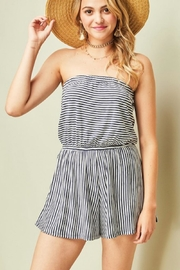 Entro Striped Strapless Romper - Front cropped