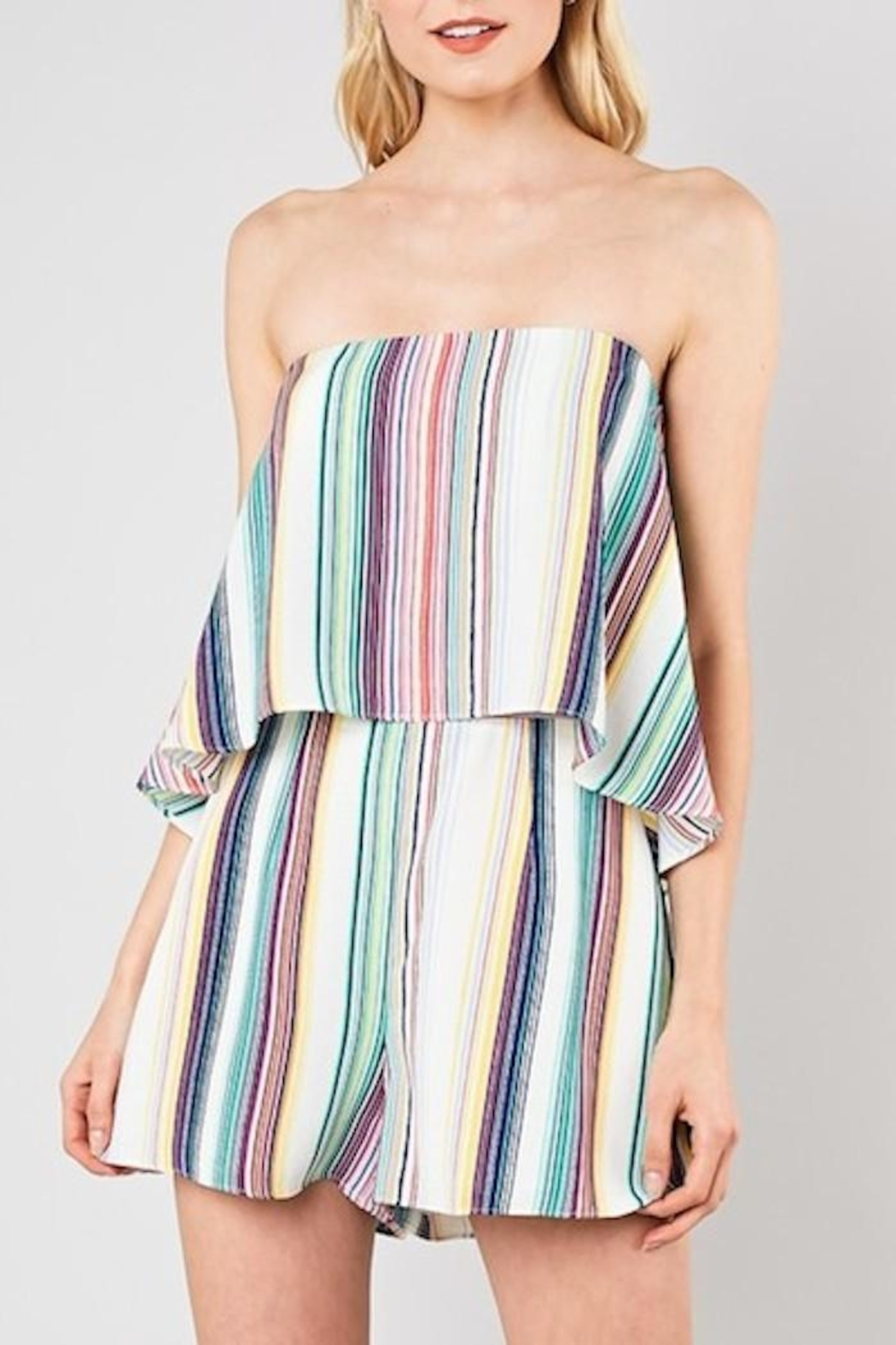 Do & Be Striped Strapless Romper - Main Image