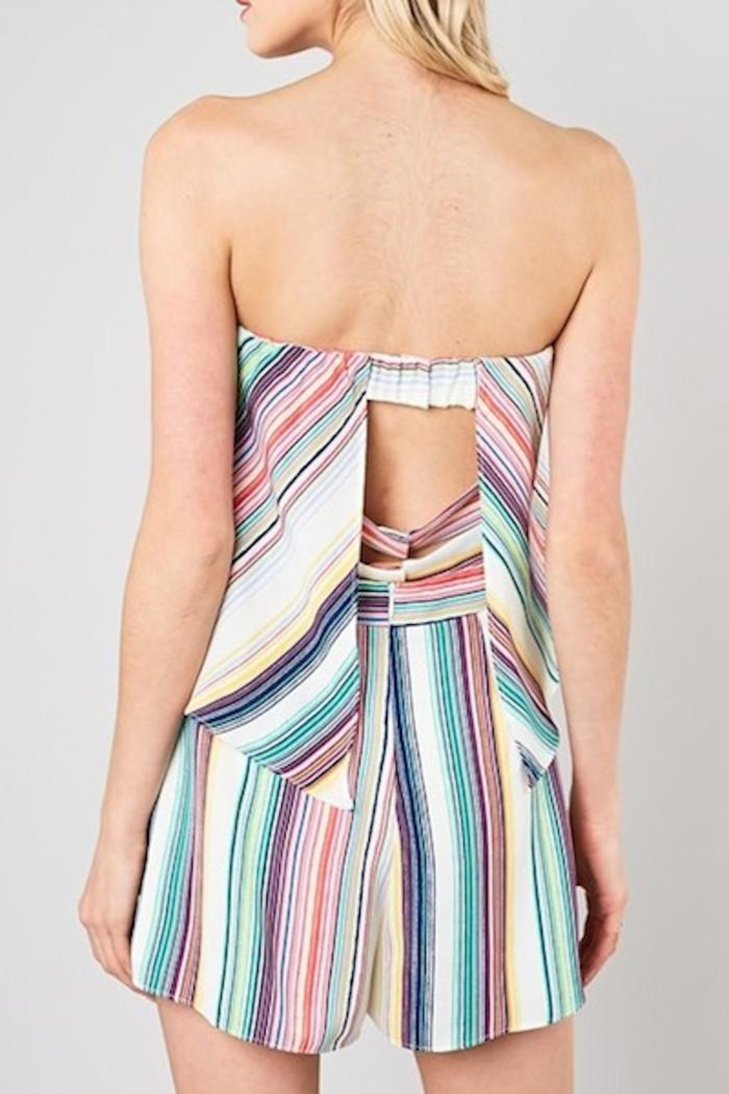 Do & Be Striped Strapless Romper - Side Cropped Image