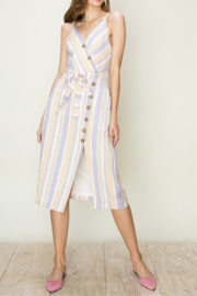 HYFVE Striped Surplice Midi Dress - Product Mini Image
