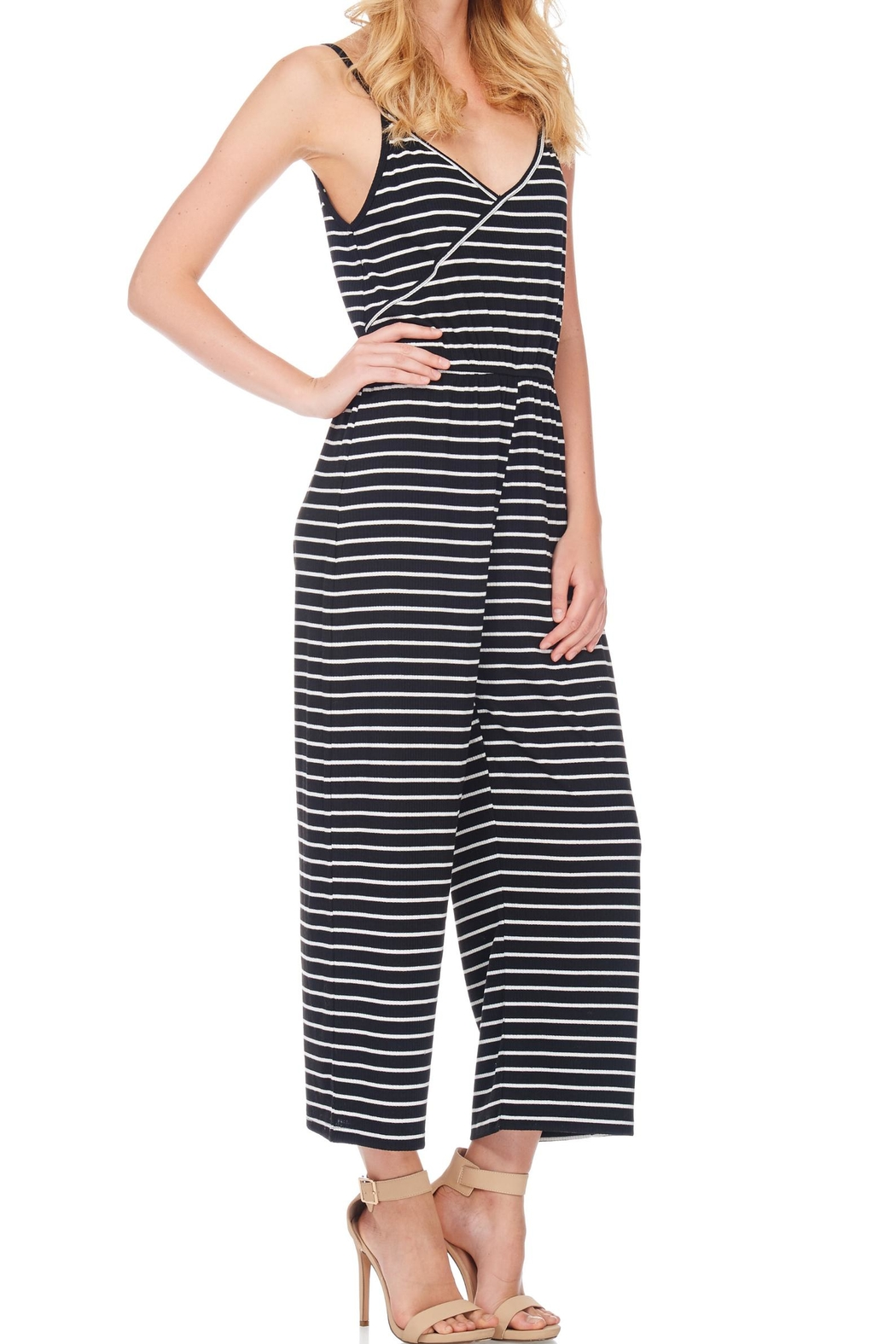 Anama Striped Surplice Romper - Front Full Image