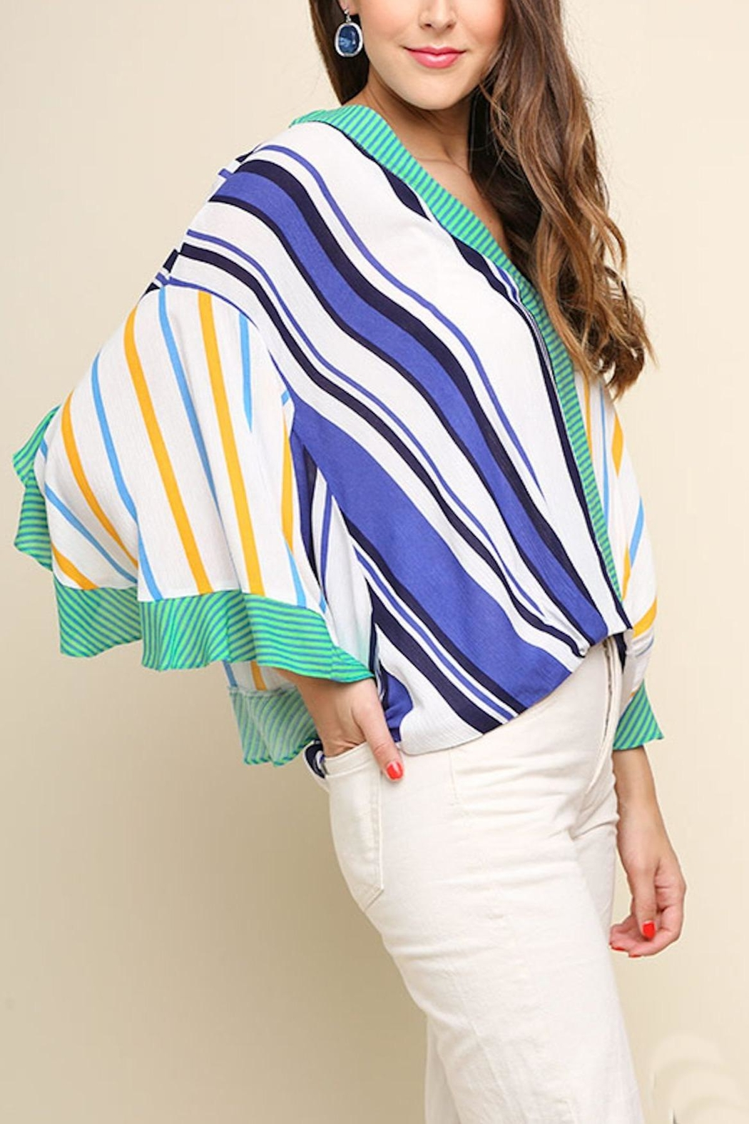 Umgee USA Striped Surplice Top - Front Full Image